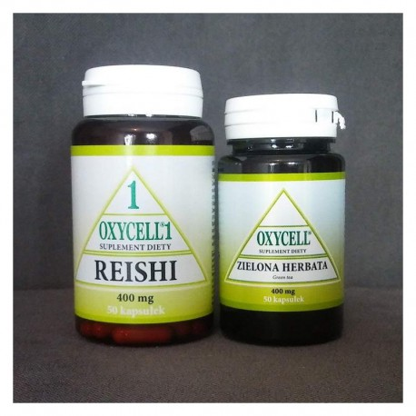 Oxycell 1 Reishi Gandoderma lucidum 50 kapsułek + zielona herbata 50 kapsułek suplement diety