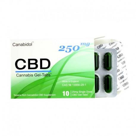 Canabidol CBD 250 mg żel bez otoczki Cannabis Sativa kannabinoidy terpeny tabletki żelowe gel tabs konopie siewne