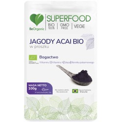 Jagody Acai bio w proszku 100g BeOrganic witamina A E żelazo euterpe precatoria