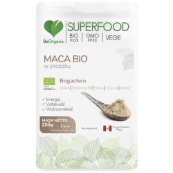 Maca bio w proszku 200g BeOrganic białka witamina B6 potas wapń miedź lepidium meyenii