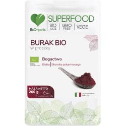 Burak bio w proszku 200g BeOrganic białka błonnik pokarmowy beta vulgaris