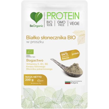 Białko słonecznika BIO w proszku 200g BeOrganic witamina E B1 B6 kwas foliowy błonnik pokarmowy