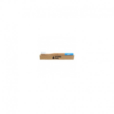 Naturalna, wegańska szczoteczka do zębów z biodegradowalnego bambusa, WŁOSIE MIĘKKIE, NIEBIESKA, Hydrophil