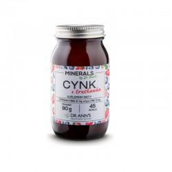 Cynk + truskawka 90g Dr Ann's cytrynian cynku inulina z cykorii Cichorium intybus L. truskawka liofilizowana