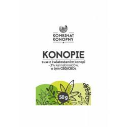 Konopie susz z kwiatostanów konopi 50g Kombinat Konopny ~3% kannabinoidów CBD/CBDa terpeny flawonoidy Cannabis sativa
