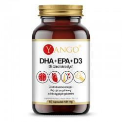 DHA + EPA + D3  60 kaps. Yango Kwasy Omega-3 olej rybi kwas eikozapentaenowy i dokozaheksaenowy witamina d3