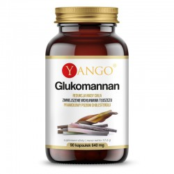 Glukomannan 90 kaps.  Yango  ekstrakt z korzebia dziwidła konjac Amorphophallus konjac D-mannoza D-glukoza