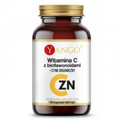 Witamina C z bioflawonoidami + Cynk Organiczny 90 kaps. Yango  L-askorbinowy pikolinian cynku Citrus sinensis
