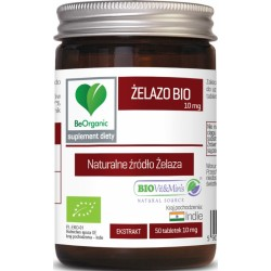 Żelazo BIO 10 mg 50 tabletek BeOrganic Medicaline Ekologiczny ekstrakt z liści curry Bergera koenigii