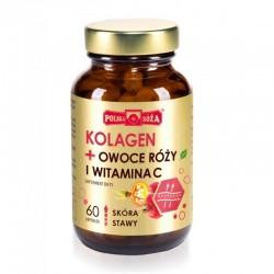 Kolagen + owoce róży + witamina C 60 kaps. Polska Róża  Kolagen II Naticol 4000 kwas L-askorbinowy inulina