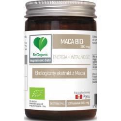 Maca ekstrakt BIO 500 mg 100 tabletek Energia i Witalność BeOrganic Medicaline Maca Lepidium meyenii