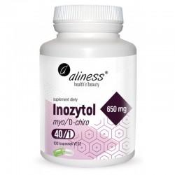 Inozytol 650mg 100 kaps. Aliness myo-inozytol D-chiro-inozytol