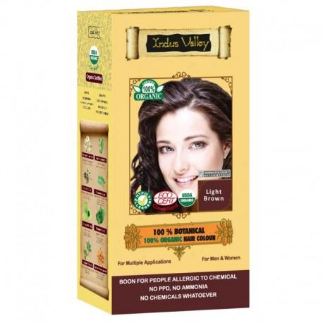 Ziołowa farba z henną, JASNY BRĄZ, w 100% ekologiczna, CERTYFIKOWANA - ECOCERT, VEGE, HALAL, 120 g, Indus Valley