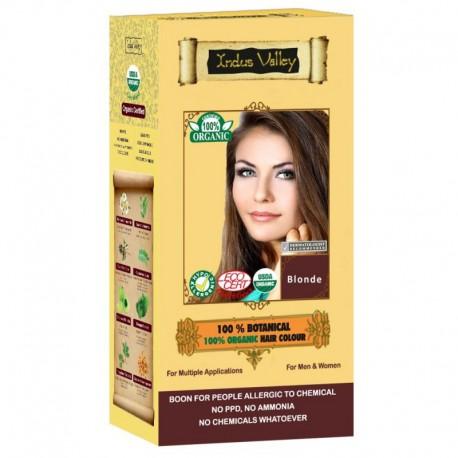 Ziołowa farba z henną, BLOND, w 100% ekologiczna, CERTYFIKOWANA - ECOCERT, VEGE, HALAL, 120 g, Indus Valley